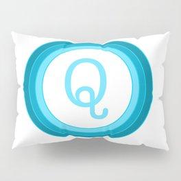 Blue letter Q Pillow Sham