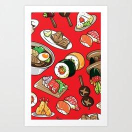 Sushi - Sashimi - Tuna - Japan - Pattern Art Print