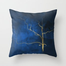 Kintsugi Electric Blue #blue #gold #kintsugi #japan #marble #watercolor #abstract Throw Pillow