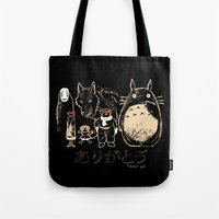miyazaki Tote Bags featuring Tribute for Miyazaki by le.duc