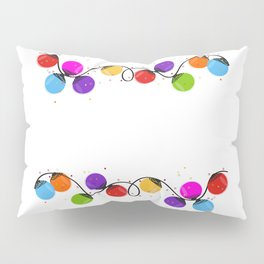 Colorful Christmas light bulb round shape new year greeting card vector Pillow Sham