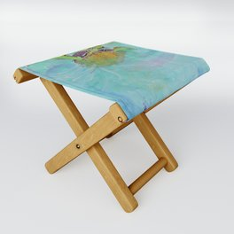Painterly Sea Turtle Swimming in Turquoise water Folding Stool