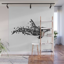 Fractured Killer Whale (grayscale) Wall Mural