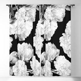 White Peony Flowers Black Background #decor society6 #buyart Blackout Curtain