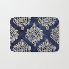 Cream Floral Moroccan Pattern on Deep Indigo Ink Bath Mat