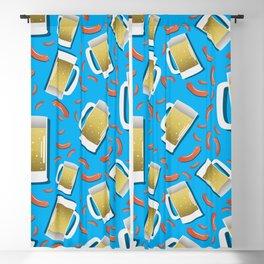 Beer and Sausage pattern on blue background German bavarian Oktoberfest Blackout Curtain