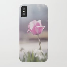 Pink Tulip Flower Photography, Tulips Floral Art, Spring Nature Nursery Photo iPhone Case