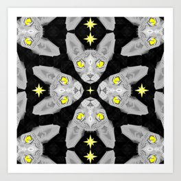 Sphynx Cat Black Pattern Art Print