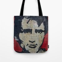 kerouac Tote Bags featuring Jack Kerouac: Get On The Beat  by Emily Storvold