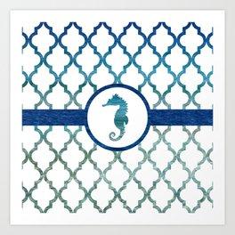 Seahorse: Tropical Water Moroccan Pattern Art Print