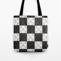 chess Tote Bags featuring Chess by FYLLAYTA, surface design,Tina Olsson