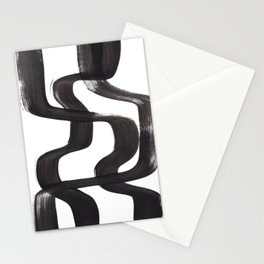 Black And White Minimalist Mid Century Abstract Ink Art Ripple Maze Lines Retro Style Stationery Cards