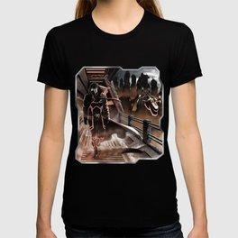 Man walking in a sci-fi city T-shirt