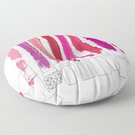 Lipstick Stripes - Floral Fuschia Red Floor Pillow
