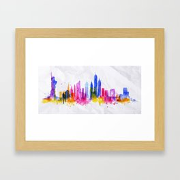Silhouette overlay city New york Framed Art Print