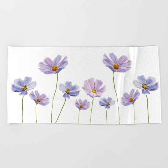 purple cosmos 2 Beach Towel