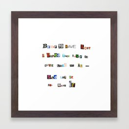 Ransom Note Framed Art Print