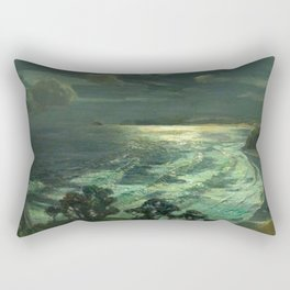 Midnight Moonlight, St Ives' Bay nautical coastal landscape painting by Julius Olsson Rectangular Pillow