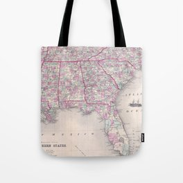 Vintage Map of The Southern United States (1868) Tote Bag