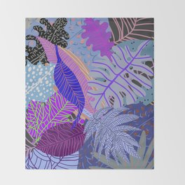 Ultraviolet Faded Nature Leaves Throw Blanket