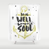 scripture Shower Curtains featuring It is Well With My Soul by Zeke Tucker