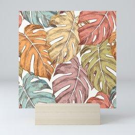 Colorful monstera leaves pattern Mini Art Print