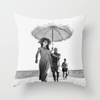 pablo picasso Throw Pillows featuring PABLO PICASSO AT BEACH by VAGABOND