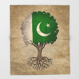 Vintage Tree of Life with Flag of Pakistan Throw Blanket