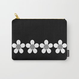 Spring Daisies - Geometric Monochrome Design in White and Grey on Black Carry-All Pouch