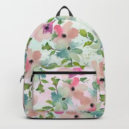 Modern teal pink watercolor hand painted floral Backpack