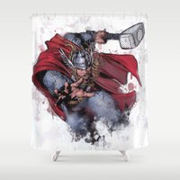 thor Shower Curtains featuring Thor by Isaak_Rodriguez