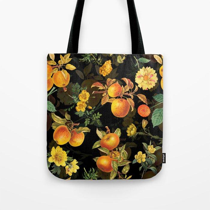 Vintage & Shabby Chic - Midnight Golden Apples Garden Tote Bag