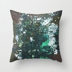 Green abstract liquidity. Throw Pillow