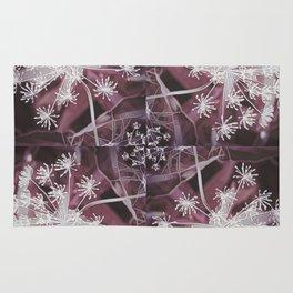 Dill Head in Dark Violet, Dreamy Floral Pattern Design Rug