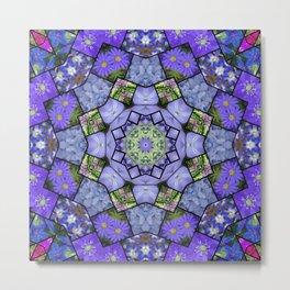 Garden mosaic kaleidoscope 2 - blue tones Metal Print