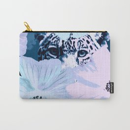 Behind the scenes - big cat hiding behind the flowers - lovely colors #decor #society6 #buyart Carry-All Pouch