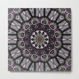 Mandala in black and white with hint of purple and green Metal Print