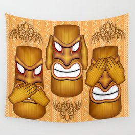 Don't See Don't Hear Don't Speak Totems Wall Tapestry