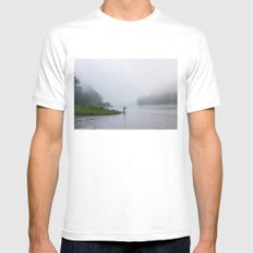 Morning Fishing MEDIUM White Mens Fitted Tee