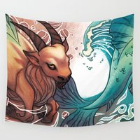 capricorn Wall Tapestries featuring Capricorn by Tilune Chacon