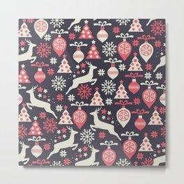Vintage Retro Christmas Pattern Holiday Metal Print