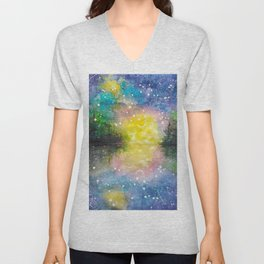 Crescent Moon Reflection Galaxy watercolor by CheyAnne Sexton Unisex V-Neck