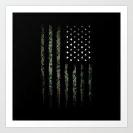 Khaki american flag Art Print