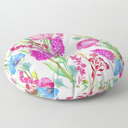 Pink Tulips and Purple Pansies Floral Pattern Floor Pillow