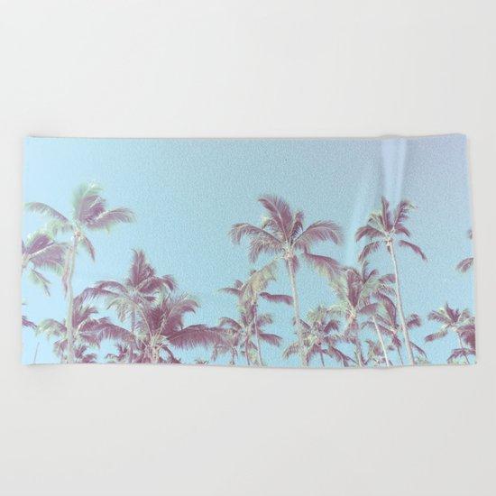 Vintage palm trees (blue) Beach Towel