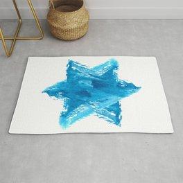 Star of David Blue Watercolor Rug