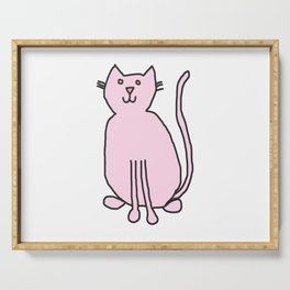 Cute Pink Cat with Green Eyes Serving Tray
