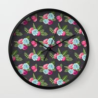 wwe Wall Clocks featuring Flower Pattern by eARTh