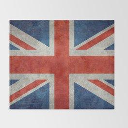 """UK Union Jack flag """"Bright"""" retro grungy style Throw Blanket"""