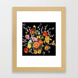 Black Butterfly Bouquet  Framed Art Print